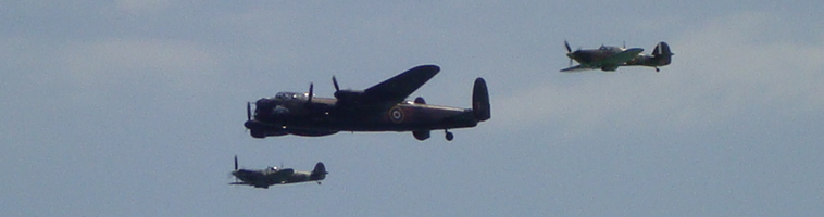 Lancaster, Hurrican and Spitire in Battle of Britain Memorial Flight